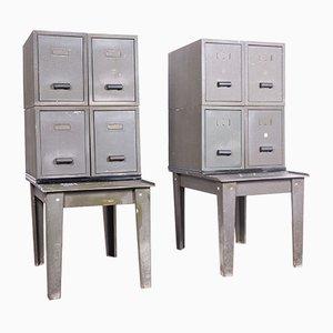 Industrielle Schränke aus Metall, 1940er, 2er Set