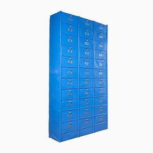 Large Industrial Blue Metal Filing Cabinet from Roneo, 1940s