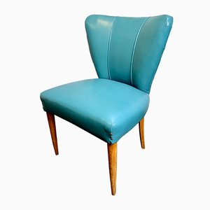 Vintage Italian Cocktail Chair in Blue Vinyl