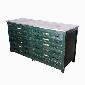 Mueble inglés industrial con tablero de zinc, años 40