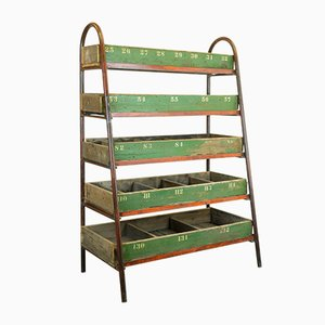 Large Victorian Industrial Metal & Wood Shelving Unit, 1850s
