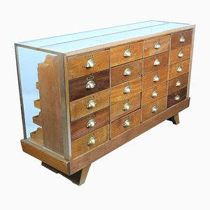 Haberdashery Cabinet with Brass Frame, 1950s