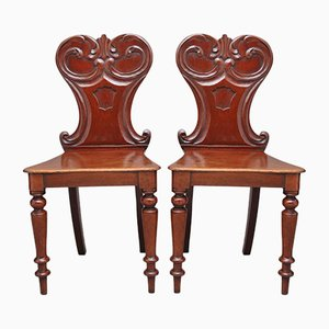 19th-Century Mahogany Hall Chairs, 1840s, Set of 2