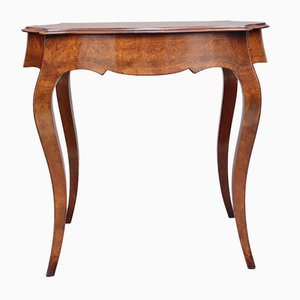 19th-Century Walnut & Boxwood Line Center Table, 1870s
