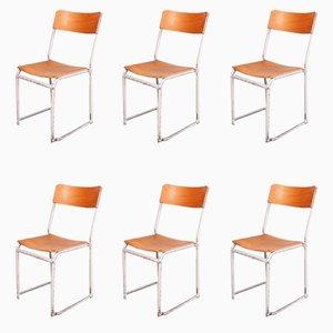 Esszimmerstühle mit weißem Gestell, 1960er, 6er Set