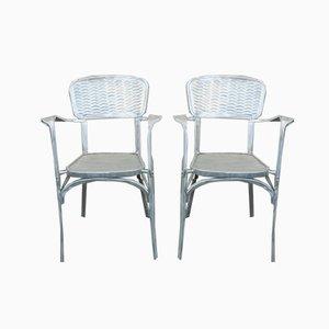 Französische Beistellstühle aus Aluminium, 1940er, 2er Set