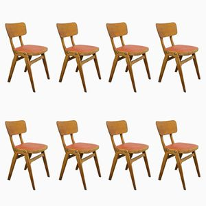 Cafe Chairs with Red Seats from Centa, 1960s, Set of 8