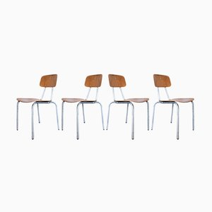 Stacking Chairs with Aluminium Frames, 1970s, Set of 4
