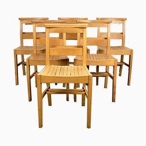 Kapellenstühle aus Buche von M. Levin, 1960er, 6er Set