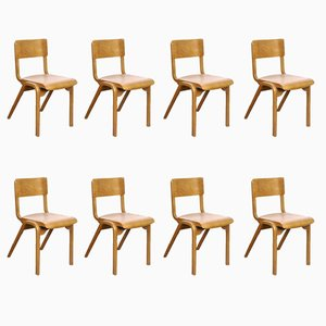 Beech Dining Chairs by James Leonard for ESA, 1950s, Set of 8