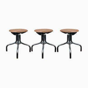 Low French Industrial Machinists Stools, 1950s, Set of 3
