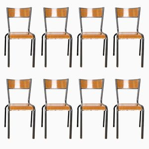 French Stacking Dining Chairs from Mullca, 1950s, Set of 8