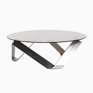 Vintage Round Glass Coffee Table by Knut Hesterberg for Ronald Schmitt, 1970s