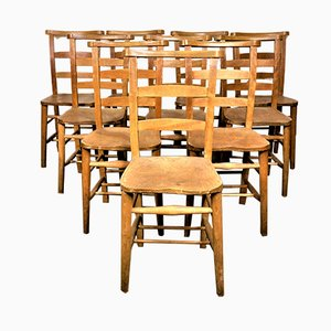 Elm Church Chairs, 1930s, Set of 8