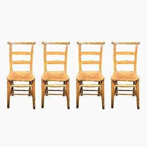 Elm Chapel Chairs, 1930s, Set of 4