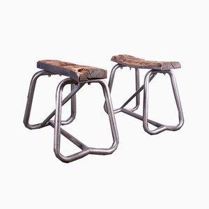 Caballetes industriales de madera y acero, años 60. Juego de 2