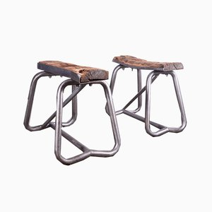 Industrial Steel & Wood Trestles, 1960s, Set of 2