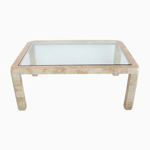 Italian Travertine Marble, Brass & Glass Coffee Table, 1970s