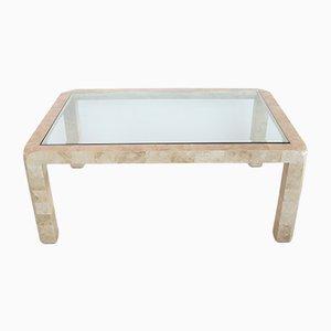 Mesa de centro italiana de vidrio, latón y mármol, años 70