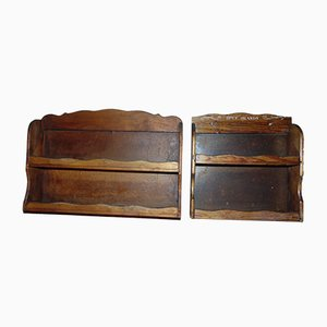 Vintage Wooden Spice Shelves, 1950s, Set of 2