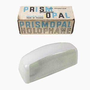 Mid-Century Prismopal Wandleuchte aus Glas & Emaille von Holophane