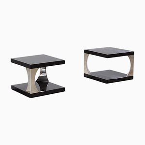 Italian Modernist Chrome & Brown Lacquered Side Tables, 1970s, Set of 2