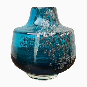 Blaue Vintage VMF Florida Glasvase von Schott Zwiesel