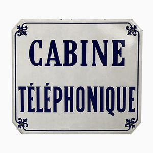 French Enameled Telephone Booth Plate, 1960s