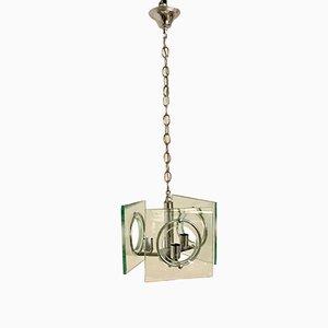 Lampe à Suspension Mid-Century en Verre & en Chrome de Veca