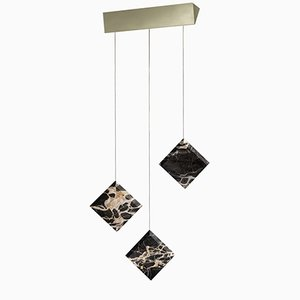 Werner Jr. Portoro Ceiling Lamp with Satin Gold Mount by Andrea Barra for [1+2=8]