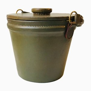 Vintage Finnish Leather Ice Bucket with Tong, 1960s