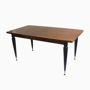 American Art Deco Extendable Walnut Burl Dining Table, 1940s