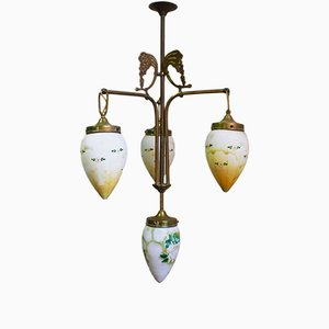 Art Nouveau Brass Chandelier with Hand-Painted Glass Shades, 1900s