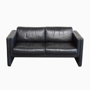 Black Leather Studio Sofa by Jürgen Lange for Wilhelm Knoll, 1990s