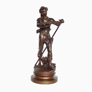 Antique Man with Scythe Sculpture by Mathurin Moreau, 1900s