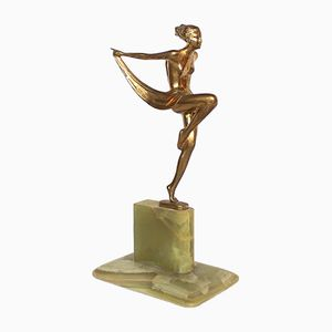 Art Deco Austrian Scarf Dancer Sculpture by Josef Lorenzl, 1920s