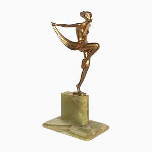 Österreichische Art Deco Scarf Dancer Skulptur von Josef Lorenzl, 1920er