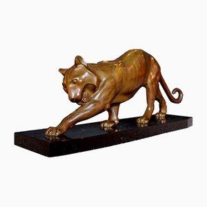 Art Deco Tiger Skulptur von Georges Lavroff, 1930er