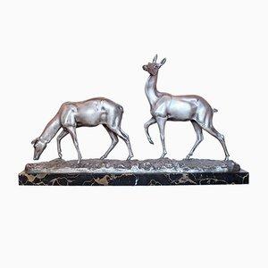 Art Deco Reh-Skulptur aus Bronze von Irenée Rochard, 1930er