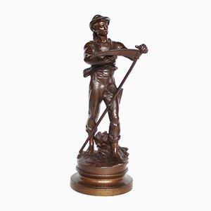 Antike Mann mit Sense-Skulptur von Mathurin Moreau, 1900er