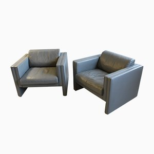 Grey Leather Armchairs by Jürgen Lange for Walter Knoll, 1980s, Set of 2