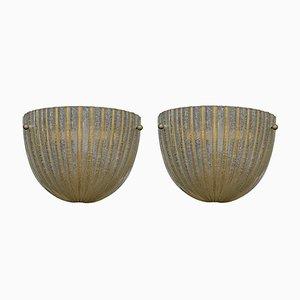 Lámparas de pared de cristal de Murano con inclusiones doradas de Barovier & Toso, años 60. Juego de 2