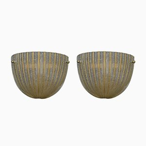 Wandlampen aus Muranoglas mit goldenen Streifen von Barovier & Toso, 1960er, 2er Set