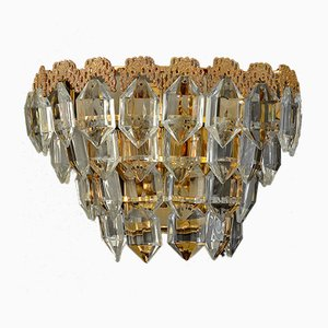 Gilt Brass and Faceted Glass Wall Lights from Bakalowits, Austria 1960s, Set of 2