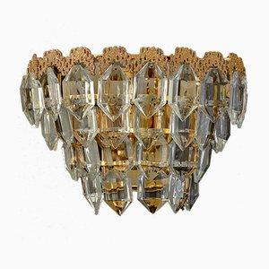 Wandlampen aus vergoldetem Messing & Glas mit Facettenschliff von Bakalowits Austria 1960er, 2er Set