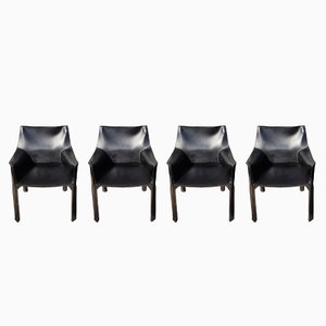 Vintage Model 413 CAB Chairs by Mario Bellini for Cassina, 1991, Set of 4