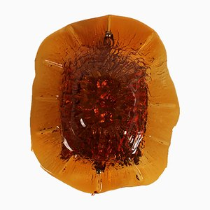 Mid-Century Scandinavian Wall Lamp with Amber Coloured Glass