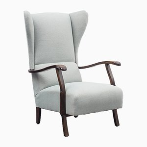 Large Pastel Green Wingback Chair, 1950s