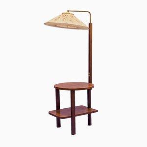 Stehlampe mit Tisch aus Buche, 1950er