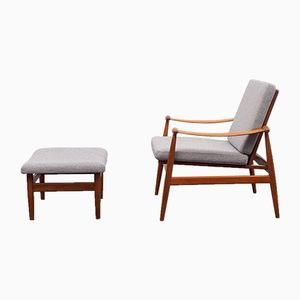 Model 133 Armchair & Model FD137 Stool by Finn Juhl for France & Søn, 1950s